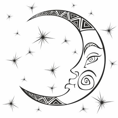 Moon. Month. Ancient astrological symbol. Engraving.  Boho Style. Ethnic. The symbol of the zodiac. Esoteric Mystical. Coloring.  Vector.