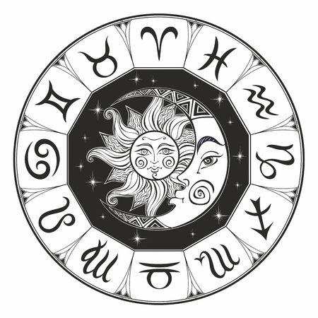干支。占星術のシンボル。星座。太陽と月。占星術。神秘的。着色。ベクトル