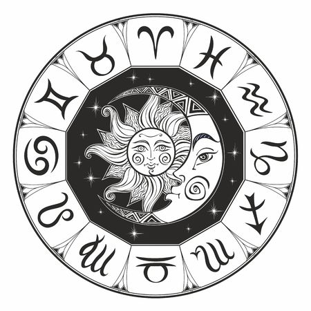 Zodiac.  Astrological symbol. Horoscope. The sun and the moon. Astrology. Mystical. Coloring.  Vector