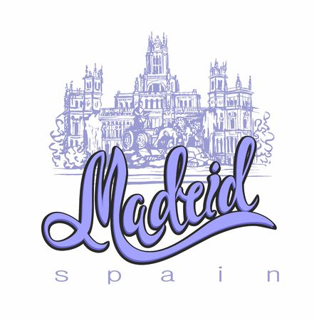 Travel. trip to Spain. City Of Madrid. Sketch. Cybele Palace and fountain at the Plaza Cibeles in Madrid, Spain.. Design concept for the tourism industry. Vector illustration. Vectores