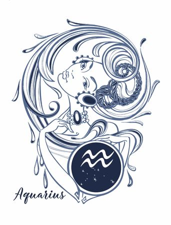 Zodiac sign Aquarius a beautiful girl. Horoscope. Astrology.  Vector Çizim