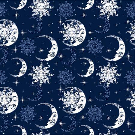Patrón sin costuras. Sol, luna y estrellas. Fondo del espacio. Cielo nocturno. Un telón de fondo mágico de hadas. Vector. Foto de archivo