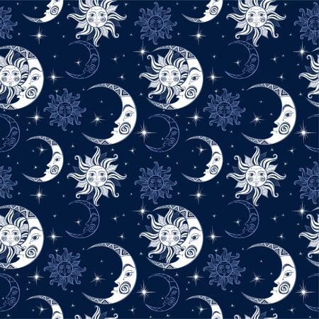 Seamless pattern. Sun moon and stars. Space background. Night sky. A magical fairy backdrop. Vector.