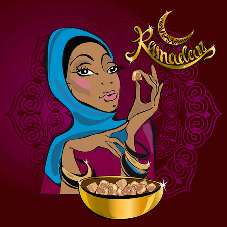 Ramadan Kareem. Text. Vector. Lettering. Greeting card designer. Beautiful girl.On Burgundy background. In gold lettering. Eastern sweets. Turkish delight