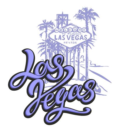 City Of Las Vegas. Sketch. The design concept for the tourism industry. Vector illustration.