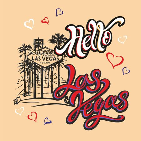 Hello Las Vegas. Lettering.Travel. trip to USA. Sketch . The design concept for the tourism industry. Vector illustration.  イラスト・ベクター素材