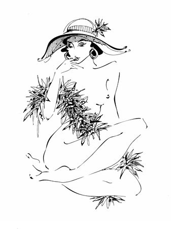 Sexy young girl in a hat. Naked beauty.  Model boa of feathers . Vector illustration.