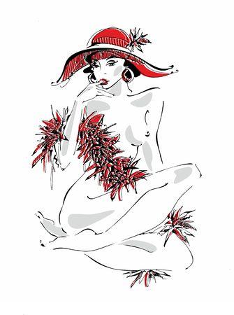 Sexy jeune fille au chapeau rouge. Beauté nue. Modèle. Modèle boa de plumes. Illustration vectorielle.