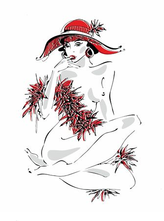 Sexy young girl in a red hat. Naked beauty. Model. Model boa of feathers . Vector illustration.