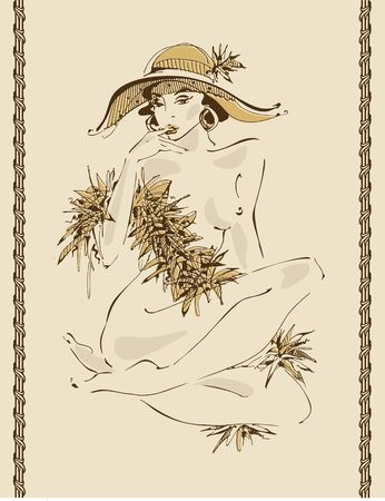 Vintage card.Sexy young girl in a hat. Naked beauty. Model. Model boa of feathers .Retro-style. Vector illustration.