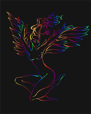 The reborn Phoenix. The bird lady. Resurrection. Esoteric image. Fabulous. Myth. Winged fairy. Vector. Vettoriali