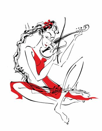 Violinist girl plays the violin. Hair like a stave with notes. Stylish graphics. Artistic composition vector.