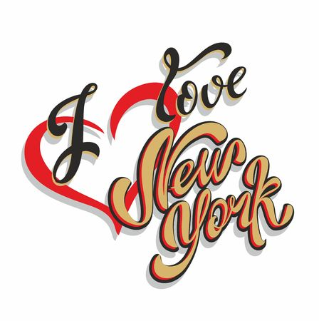 I love New York lettering.Travel. The design concept for the tourism industry. Vector illustration.