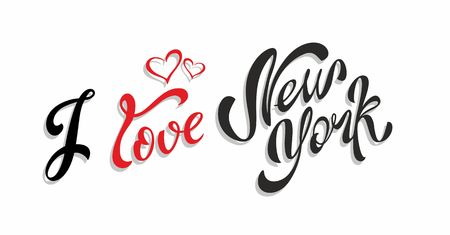 I love New York. Lettering travel. The design concept for the tourism industry. Vector illustration.