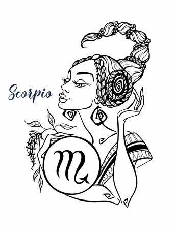 El signo astrológico de Escorpio como una hermosa niña. Horóscopo. Astrología. Colorante. Vector