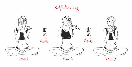 Self-Healing.   The energy of reiki. Poses hands for healing. The set of files. File 1.  3 positions. A total of 12 positions. Alternative medicine. Spiritual healing. Esoteric. Vector. Illusztráció