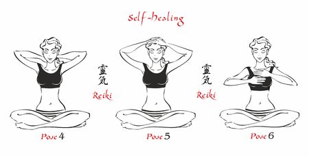 Self-Healing.   The energy of reiki. Poses hands for healing. The set of files. File 2. 3 positions. A total of 12 positions. Alternative medicine. Spiritual healing. Esoteric. Vector. Иллюстрация
