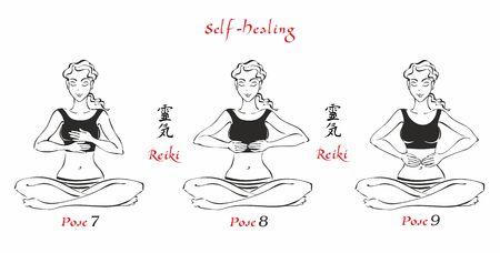Auto-guérison. L'énergie du reiki. Pose les mains pour la guérison. L'ensemble des fichiers. Fichier 3. 3 positions. Un total de 12 postes. Médecine douce. Guérison spirituelle. Ésotérique. Vecteur.