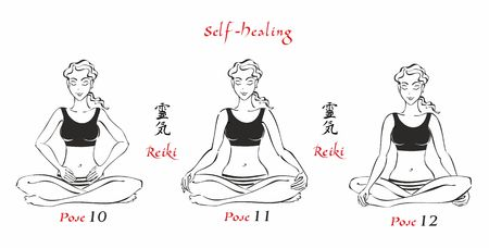 Self-Healing.   The energy of reiki. Poses hands for healing. The set of files. File 4. 3 positions. A total of 12 positions. Alternative medicine. Spiritual healing. Esoteric. Vector. Çizim