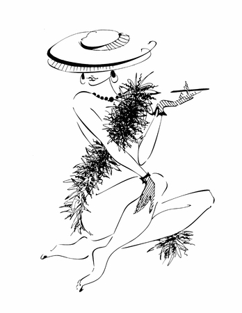 young girl in a hat.  Model boa of feathers  Vector illustration.