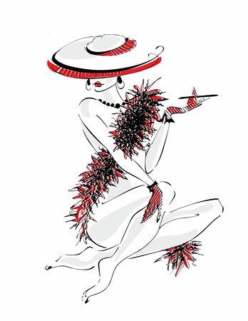 Sexy jeune fille au chapeau. Beauté nue. Modèle boa de plumes. Illustration vectorielle.