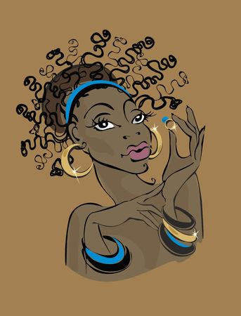 Dark-skinned woman in gold jewelry. Dark-skinned model shows jewelry. Holds a gold ring in her hand. Turquoise Beauty industry. Fashion model African, Brazilian, African-American. Vector illustration. Illustration
