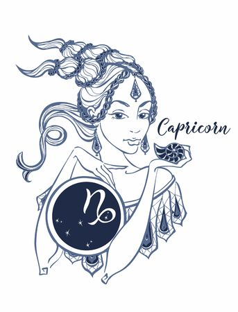 The Capricorn astrological sign as a beautiful girl. Horoscope. Astrology. Victor