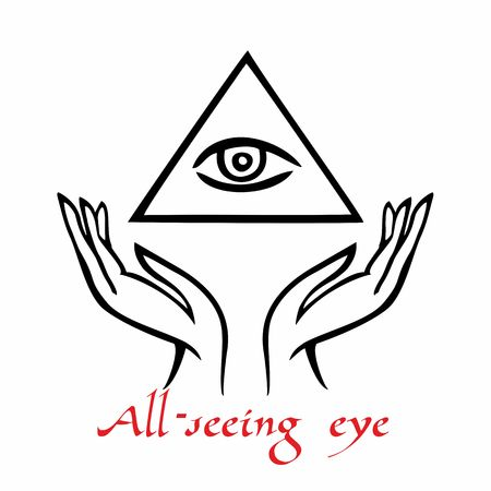 Sacred sign. The all-seeing eye. Spiritual energy. Alternative medicine. Esoteric. Vector. Иллюстрация