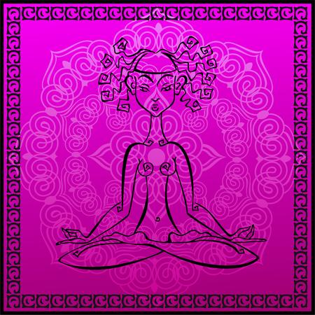 Meditation. Esoteric. Girl meditates. Yoga Mat.  Mandala. Vector.