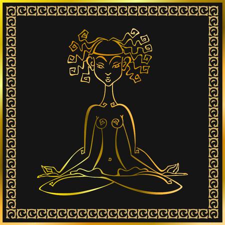 Meditation Esoteric concept. Girl meditates. Vector illustration. Illusztráció