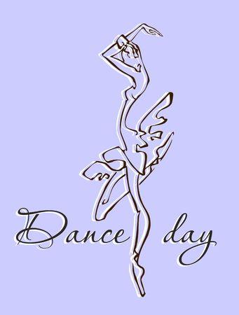 The day of the dance Greeting card. Dance festival Ballerina Vector illustration. Illustration