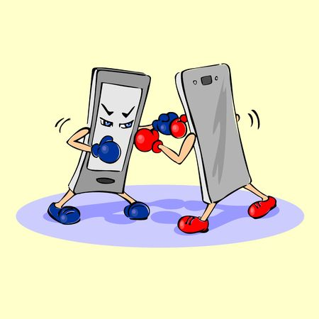 Cartoon illustration of two faced phone the Boxing gloves. Concept of a struggle of different brands of mobile phones. Stock Illustratie