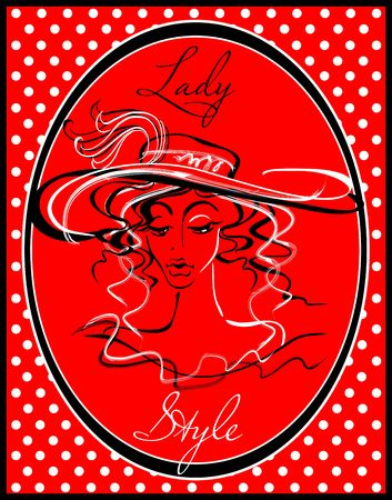 The girl in the hat. Fashion illustration. Drawn Lady in the hat. Lady style Model beauty silhouette. Fashion girl In the red frame. The pattern polka dots. Vector illustration. Illusztráció