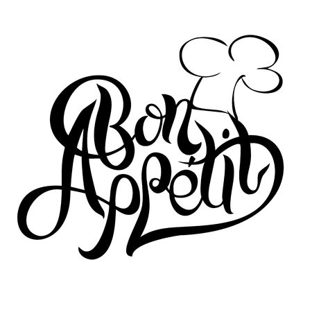 Bon appetit Lettering. The composition of the text with a chef hat for design. Vector illustration. Ilustração
