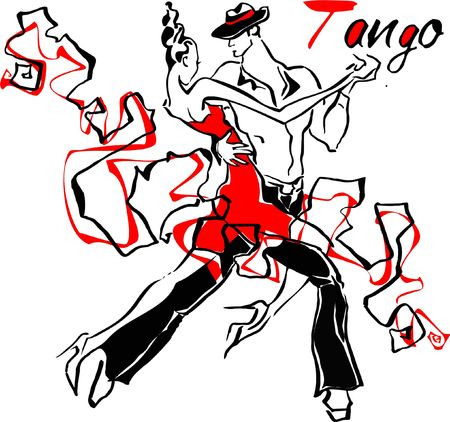 Man and woman dancing tango illustration. Archivio Fotografico - 100307610