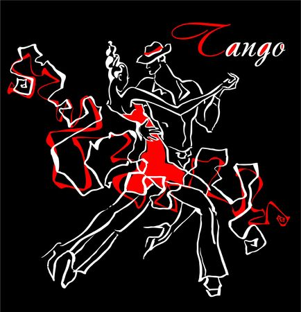 Man and woman dancing tango vector illustration.