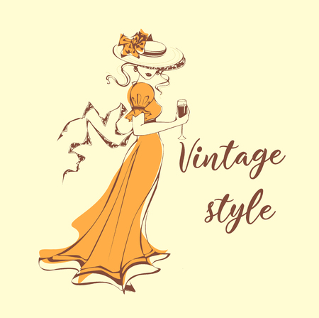 Beautiful girl in hat with a glass of wine in . Vintage style .  Lady in retro dress.   Romantic feminine image. Vector illustration.