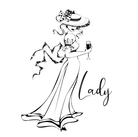 Beautiful girl in a hat with a glass of wine .Lady. Inscription. Black-white. Vintage style . Lady in retro. Romantic image. Vector illustration. Çizim