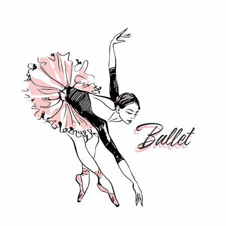 Ballerina in pink ballet tutu. Dancer in a beautiful pose. Ballet. Inscription. Vector illustration.