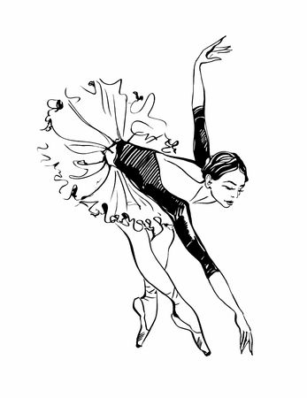 Ballerina. Girl dancing. Black and white sketch. Ballet. Vector. Illustration