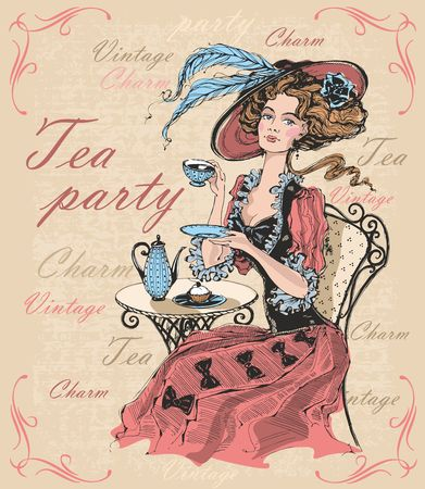 Vintage lady in a hat drinking tea. Lady in crinoline. Tea party. Charm. Vintage. Inscriptions.  Time to drink tea. Vector Illustration