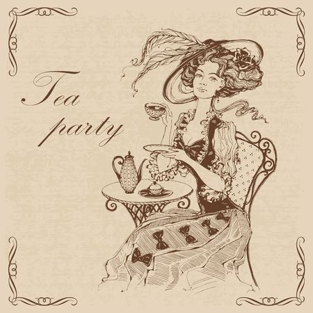 Beautiful vintage lady. Tea party.Inscription.  Girl in a hat drinking tea. Engraving. Graphics. Brown. Vector