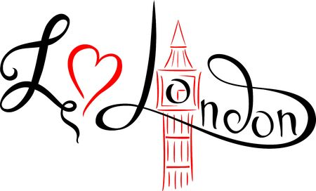 I love London. Lettering. Hand drawn vector illustration, design, postcard  . Umbrella.Vector. Ilustracja