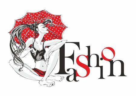 Fashion industry. Girl model with umbrella posing. Fashion. Decorative inscription. Beauty model woman. Vector. Vettoriali