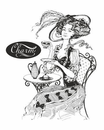 The girl with the hat and the vintage dress. Lady drinks tea. Beautiful woman. Charm. Inscription. Graphics. Black-white.  Vector Ilustração