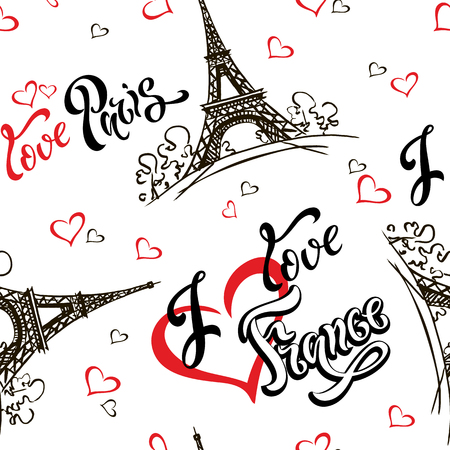 Seamless pattern. I love Paris. I love France. Stylish lettering. Hearts. Eiffel tower. Sketch. White background. Victor