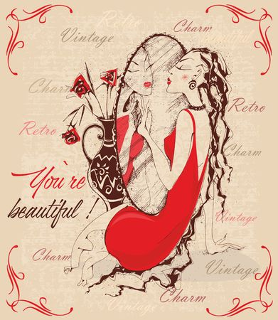 Retro-style. Vintage postcard. The lady in the mirror. Inscriptions. You're beautiful. Charm. Vector