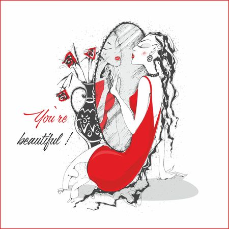 You're beautiful. Inscription. Postcard. The girl in the red dress near the mirror. Vector Illustration
