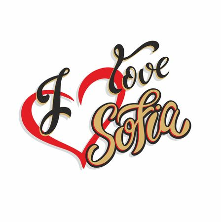 I love Sofia. Bulgaria. Lettering. Tourist card. Tourism industry. Heart. Vector. Illustration
