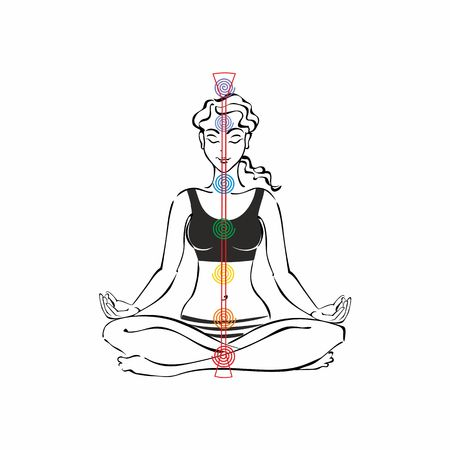 The energy channel of the human. Chakras. girl in Lotus position. Reiki. Meditation. Vector.